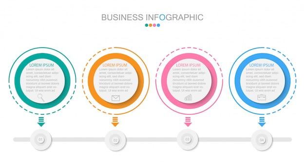 Infografik-vorlage mit vier schritten oder optionen