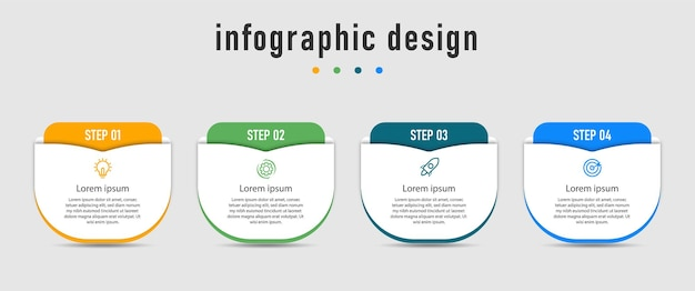 Infografik-vorlage mit vier schritten