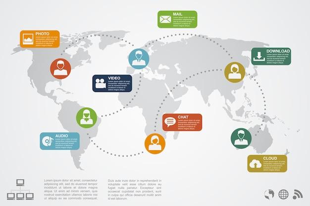 Infografik vorlage mit weltkarte, personen silhouetten und ikonen, soziales netzwerk, kommunikation, cloud-konzept
