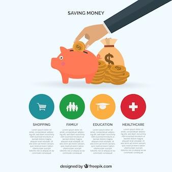 Infografik-vorlage über geld zu sparen