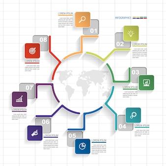 Infografik Vorlage von 8 Option auf Rasterelemente