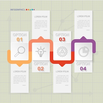 Infografik Vorlage von vier Optionen auf Raster, Diagramme und Grafiken Elemente