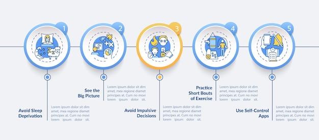 Infografik-vorlage zur selbstregulierung zur steigerung der tipps. präsentationsdesignelemente zur selbstkontrolle.