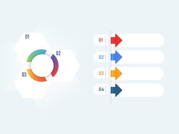 Infografik-vorlagen-layout mit verschiedenen optionen und textfreiraum.