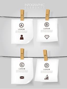 Infografik-vorlagendesign des bildungskonzepts mit notizen, die am seil hängen