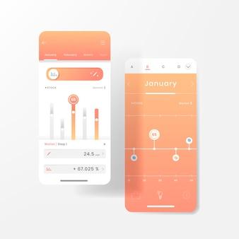 Infografik-vorlagendesign für den aktienhandel in orange und weiß