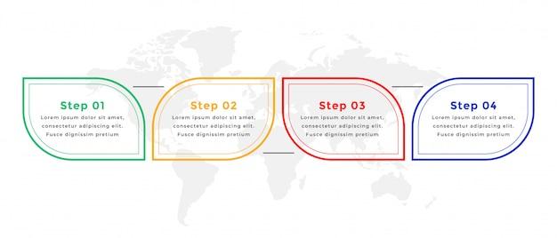 Infografik-vorlagendesign mit vier schritten im linienstil