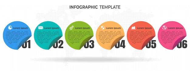 Infografik-vorlagenoptionen oder -schritte für zeitachsenkreise.
