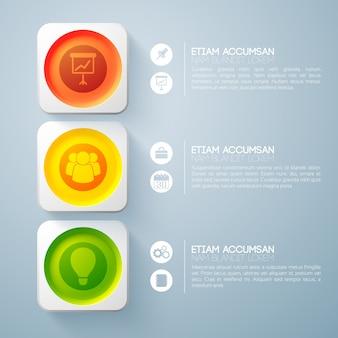 Infografik-webdesign-konzept mit drei bunten runden knöpfen des textes in den quadratischen rahmen und in den symbolen