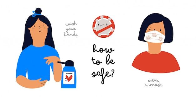 Infografik wie man sicher ist. pandemie-konzept. stoppen sie das coronavirus
