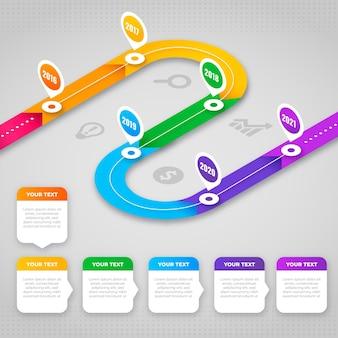 Infografik-zeitleiste mit farbverlauf