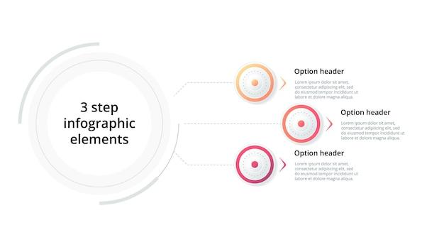 Infografik zu geschäftsprozessdiagrammen mit 3 schrittkreisen kreisförmige grafische elemente des unternehmensworkflows