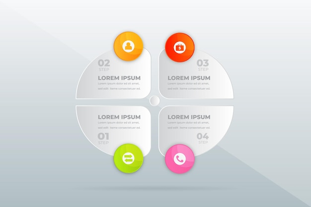Infografik zu modernen professionellen schritten