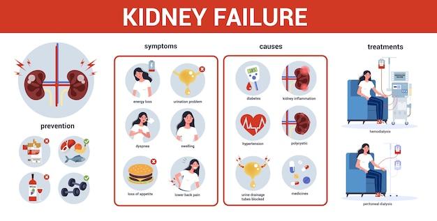 Infografik zu nierenversagen. symptome, ursachen, vorbeugung und behandlung. idee einer medizinischen behandlung. urologie, inneres menschliches organ. gesunder körper.