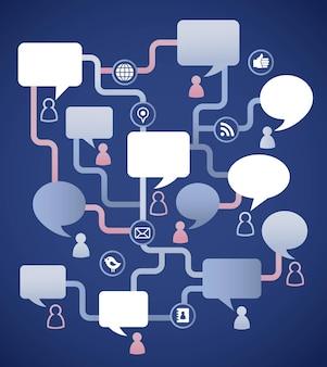 Infografik zu online-kommunikation und sozialen netzwerken