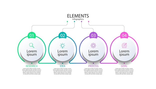 Infografik zu präsentationselementen mit vier schritten