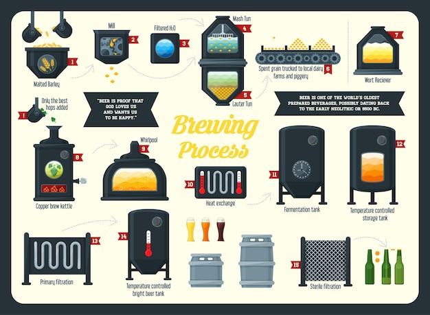 Infografik zum bierbrauen. flacher stil.