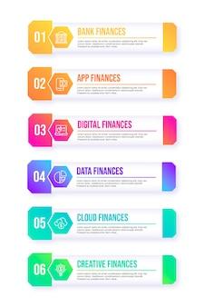 Infografik zum inhaltsverzeichnis mit farbverlauf