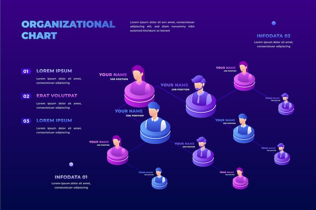 Infografik zum isometrischen organigramm