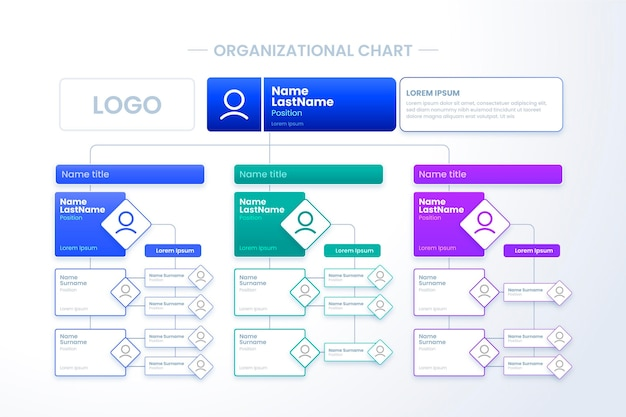 Infografik zum organigramm mit farbverlauf