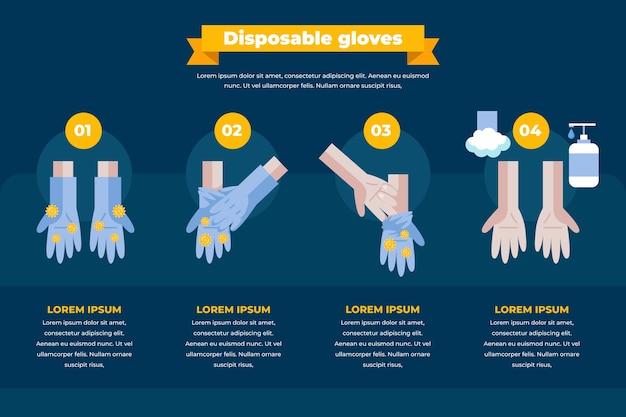 Infografik zum schutz von einweghandschuhen