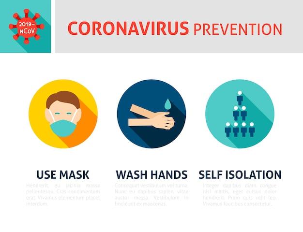 Infografik zur coronavirus-prävention. flache design-vektor-illustration des medizinischen konzepts mit text.
