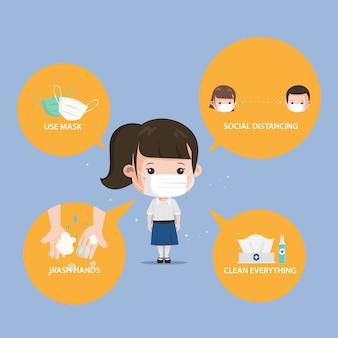 Infografik zur coronavirus-prävention für schüler. siam bangkok schule thailand sicher vor covid-19.