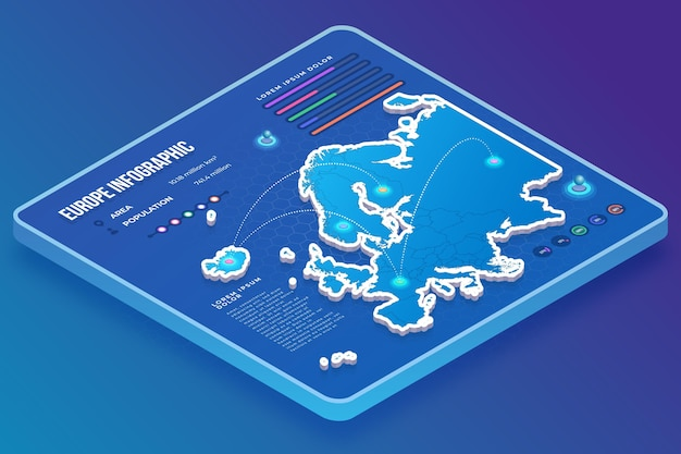 Infografik zur isometrischen europakarte