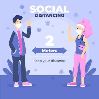 Infografik zur sozialen distanzierung