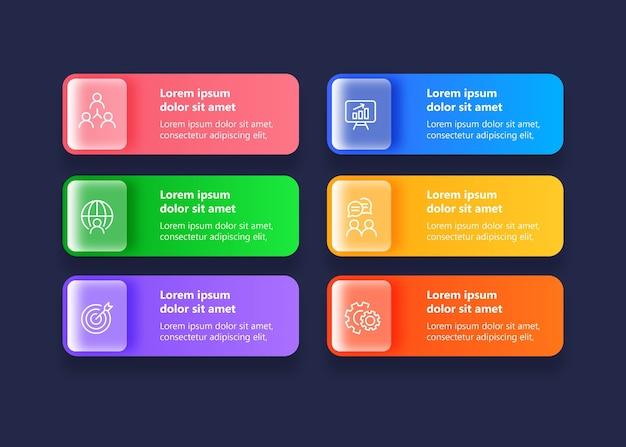 Infografik zur vorlagenpräsentation mit 6 optionen