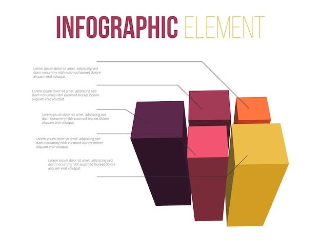 Infografikelement mit 3d-bars-informationen