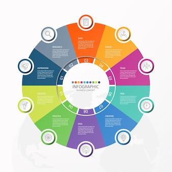 Infografiken 10 element von kreisen und grundfarben für das aktuelle geschäftskonzept. abstrakte elemente, optionen, teile oder prozesse.