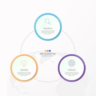 Infografiken 3 element von kreisen und grundfarben für das aktuelle geschäftskonzept.