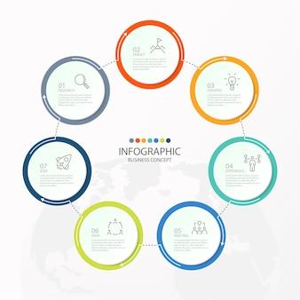 Infografiken 7 element von kreisen und grundfarben für das aktuelle geschäftskonzept. abstrakte elemente, optionen, teile oder prozesse.