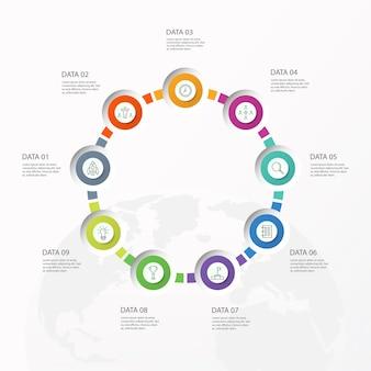 Infografiken 9 element von kreisen und grundfarben für das aktuelle geschäftskonzept. abstrakte elemente, optionen, teile oder prozesse.