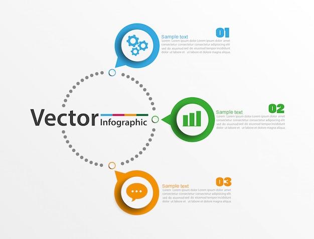 Infografiken anzahl optionen vorlage mit 3 schritten