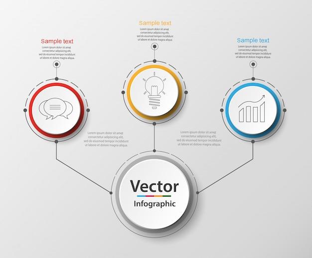 Infografiken anzahl optionen vorlage mit schritten