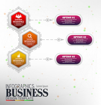 Infografiken business template konzept mit 3 optionen