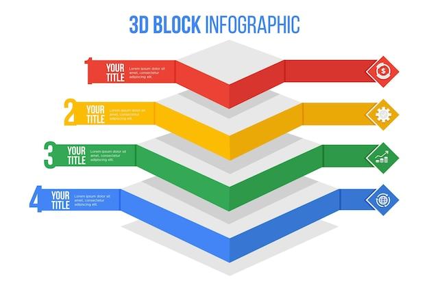 Infografiken der 3d-blockschichten