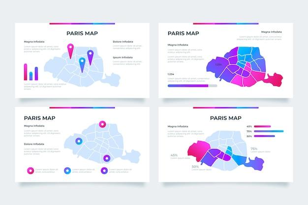 Infografiken der gradienten-paris-karte
