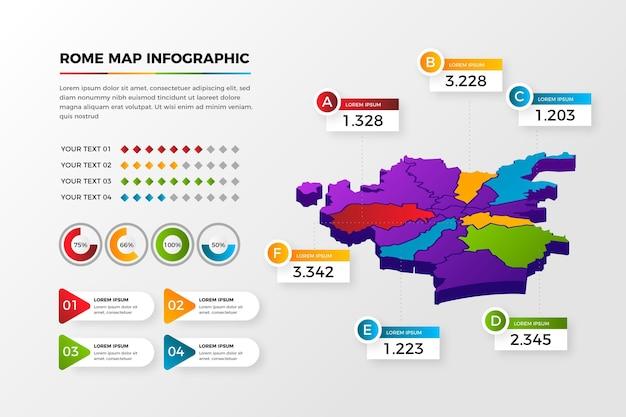 Infografiken der isometrischen romkarte