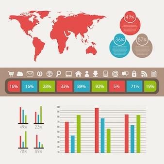 Infografiken design auf weißem hintergrund