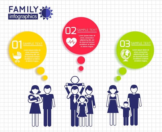 Infografiken design mit der familie