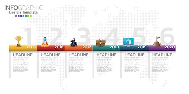 Infografiken-designvorlage für die zeitachse mit 5 optionen, prozessdiagramm