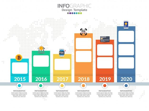 Infografiken-designvorlage für die zeitachse mit 6 optionen, prozessdiagramm.