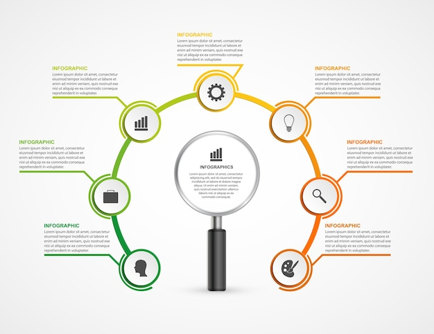 Infografiken designvorlage mit lupe. diagramm.