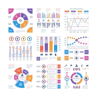 Infografiken elemente. flow-infografik, prozessdiagramm-timeline, schrittdiagramm-organisationsgrafik. präsentation infographik vektor festgelegt
