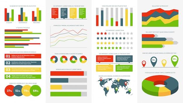 Infografiken elemente. info-diagramme, diagramme und grafiken. flussdiagramm und zeitachse für infografik des geschäftsberichtpräsentationsvektors, entwurfsfortschritt und marketingkreis festgelegt