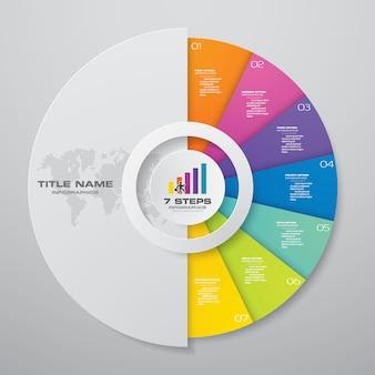 Infografiken-elemente mit 7 schritten.