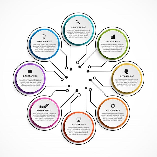 Infografiken elemente mit optionen oder schritten
